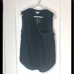 Joie Tops - Joie Silk Top Sleeveless Silk Pocket Button Black